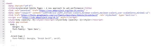 Extrait de code source d'une page HTML AMP