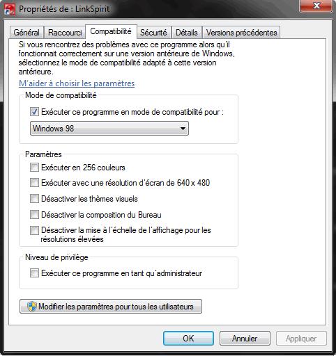 Linkspirit Mode de compatibilité